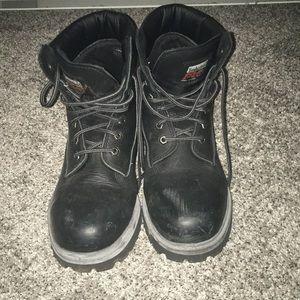Men's 8.5 Black Steel Toe Timberland Boots